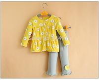 2015 Baby Toddler Girl Clothing Sets 100%Cotton Floral Top & Dot Grey Lace Pant 2piece Suit Infantil Princess Clothes For Spring