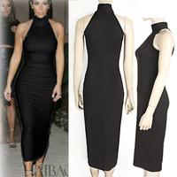 2015 Spring Summer Fashion Women Dresses Strapless Black Slim Bodycon Casual Midi Knee-length Casual Work Sheath Dress