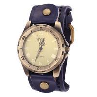Roman Number Punk Style Cowhide Leather Watch Vintage Fashion Women's Men's Wrist Watches Montre Clocks