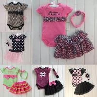 1Set Newborn Infant Baby Girl Clothing Polka Dot Headband+Romper+TUTU Outfit Clothes 3PCS Sets Freeshipping