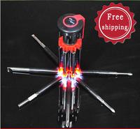 Creative screwdriver with lamp screwdrivers Gator Grip 8 in 1 Multi-purpose precision Magnetic Screwdriver Set Repair Tools