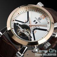 FORSINING New 2015 Fashion Mechanical Rose White Watch Self-wind Flywheel Men's Watches Brown Band Wristwatch Free Shipping