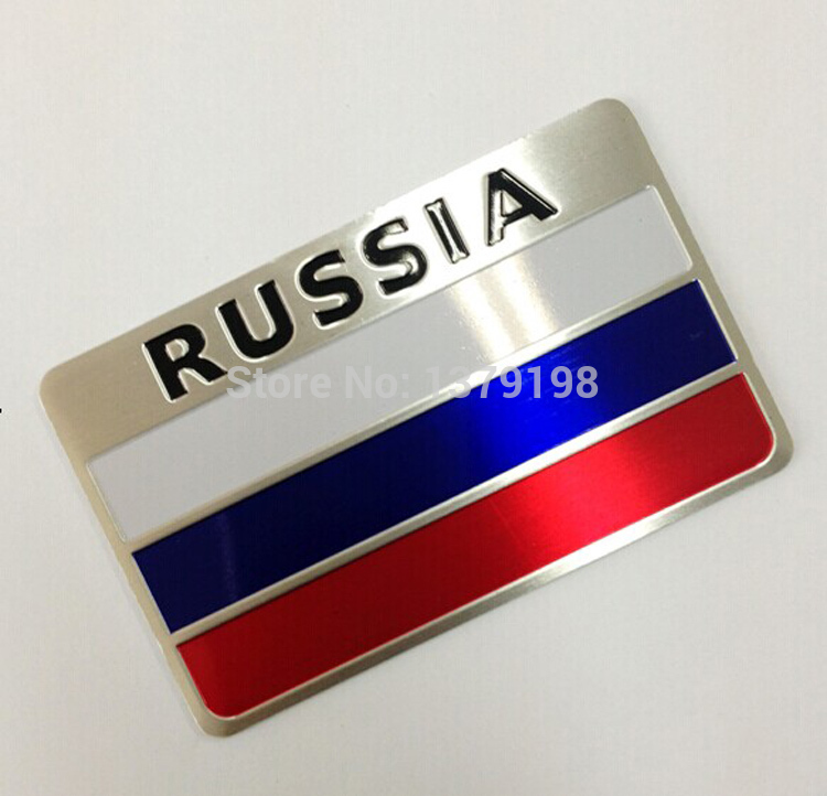 3D Aluminum Russia Flag car sticker accessories stickers For ford focus chevrolet cruze kia rio skoda octavia volkswagen honda(China (Mainland))