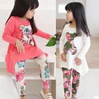 Baby Kids Girls Clothing Sets Long Sleeve Irregular Hem Bear T Shirt+Flower Pants Outfits Set 2-7Y Freeshipping