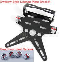 Swallow style License Plate Bracket Tail Light Holder Motorcycle Fender Eliminator send 4x Skull Screw For Honda Yamaha  #4374