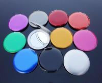 Pocket Handbag Compact make-up mirror Portable Blank Compacts 10 color choice FREE SHIPPING