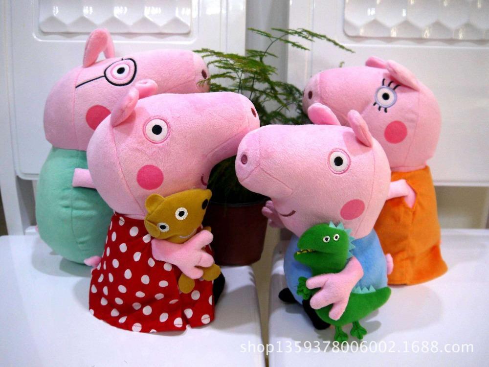 Bebê crianças Stuffed Plush Peppa Pig Dot vestido vermelho bonecas brinquedos de pelúcia tamanho grande família Set 4 pçs/lote(China (Mainland))