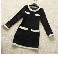 Europe Fashion Clothes Noble Quality Black and White Vintage terry  O-Neck  Dress full  sleevenew women104