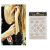 Hot Sale Unisex Metallic Removable Four Leaves+Necklace+Bravelet Temporary Tattoo Stickers Temporary Body Art Waterproof Tattoo