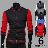 New Spring 2015 Men 8 color Classic Style  Hit color Baseball shirt Fashion casual Men Sweatshirts  jacket coat M-2XL