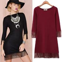 #YZX-LAH Women casual dress solid tassel three quarter sleeve dresses