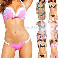 2015 Newest Fashion Lace Nets Padded Bikini Set Conservative Women Swimwear  Push Up Beachwear Swimsuit 3 Clors S M L