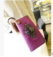 2015 High Quality Korean  Fashion Skull  Long Design PU Leather Purse Muiltfunction Women Wallets