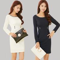 2015 Women Autumn winter casual dresses Cotton Diamond Long Sleeve dress elegant slim waist hip slim gentlewomen dress for women