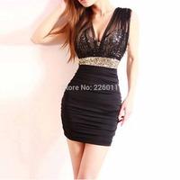 Fashion Sexy Mini Club Party Dress Evening Dress Low-Cut Backless Sequin Waist Sleeveless High Waisted Ruffled Mesh  Clubwear
