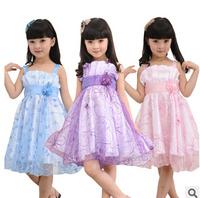 Retail 1PC New 2015 Summer Flower Dress For Girls Dancing Dresses Princess Dress sleeveless party dress Q01