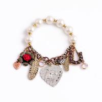 Fashion fashion accessories simulated-pearl bracelet created diamond leaves pendant bracelet
