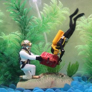Fish aquarium decoration treasure hunter diver fish tank for Aquarium diver decoration