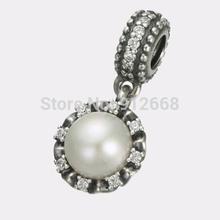 925 Sterling Silver Beads Fit Pandora Charm Bracelet  Hanging Everlasting Grace Pearl Bead
