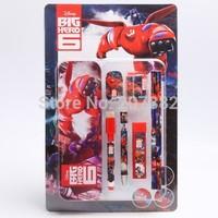 160sets/lot ! 2015 Hot Sale Big Hero 6 Baymax Stationery Set Cartoon School Set Children Stationery A105 Free Shipping
