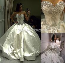 2015 New luxe personnalisé chérie taffetas cristaux de mariée robe de bal robe de mariée avec Long Train(China (Mainland))