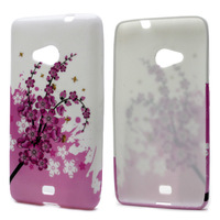 Pink Plum Blossom Pattern TPU Gel Silicon Cover Case For Nokia lumia N535 For microsoft lumia 535 Mobile Phone Bag Free Shipping