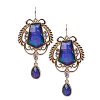 Fashion Shiny 18K Gold Plated Exaggerated Charms Stone Pendants Crystal Statement Dangle Earrings Bijoux for Women