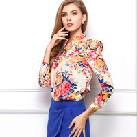 Spring blusas femininas 2015 Europe sexy ladies long-sleeved shirt Slim Plus Size women floral chiffon shirt brand blouses CS105