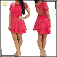 2015 New Women Vestido De Renda Red Lace Dress  Plus Size Vestidos Femininos Back Open European Sexy Short Sleeve Summer Dresses