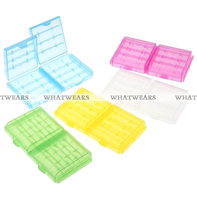 Free Shipping 10PCS Colorful Hard Plastic Battery Case Holder Storage Box AA AAA Battery 4018-906-10(China (Mainland))