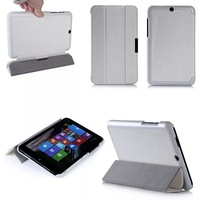 High Quality Silk Grain Ultra Slim Magnetic Tri-fold Stand Leather Protective Case Smart Wake up Sleep Cover for HP Stream 8