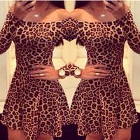 Leopard Dress Plus size Long Sleeve Slash Neck Off Shoulder Sexy Dresses 2015 Fashion Women Dress Spring Summer Vestido Feminino