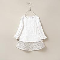 New Children Clothing Spring Summer Girls Elegant Lace Cotton Organ Baby Princess Blouse