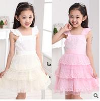 2015 fashion sumemr clothes top clothes 3D flowers solid lace gauze chiffon kids baby girls children sundresses slip dresses Q07
