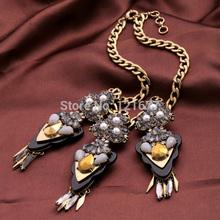 Exaggerated Big Resin Stone Pendants Vintage Jewlery Statement Necklace Choker Dress Accessories for Women Bijoux Bijuterias