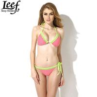 LEEF 2015 Women Sexy Bikini Set Dot Strappy Bikini Green Lace Edge Swimsuit Swimwear Bathing Suit Bather Biquini for Women S M L