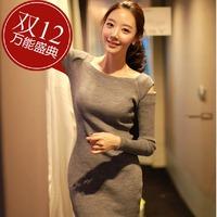 New arrival 2015 Long Sleeve Dresses Women Korean fashion Slim Sexy striped mini casual lady's dress free shipping