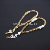 Champagne Crystals Rondelles  Islamic Muslim Prayer Beads Tasbih 33beads Allah Misbaha Sibha   L150113007