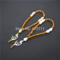 Amber Crystal Rondelles  Islamic Muslim Prayer Beads Tasbih 33beads Allah Misbaha Sibha   L150113014