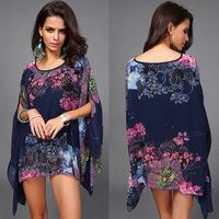 FREE SHIPPING Fashion plus size chiffon batwing shirt plus size plus size mm elegant chiffon top