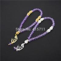Royal BlueLilac Crystal Rondelles  Islamic Muslim Prayer Beads Tasbih 33beads Allah Misbaha Sibha   L150113013