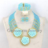 2015 New Fashion Jewelry Sets Chunky Statement Necklace Set Nigerian Wedding Jewelry Set Flower Pendant Free Shipping GS951