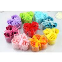 Free shipping Romantic heart-shaped rose soap flower (30pcs/lot) random colors for wedding gift ,weding favor