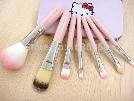 stylenanda brand hello kitty 7PCS/SET Makeup Brushes Cosmetics Foundation Blending Kits Wooden Make Up Tools in tin box case(China (Mainland))