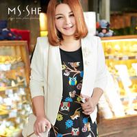 Msshe plus size clothing 2015 spring o-neck print slim elegant 2387 tank dress