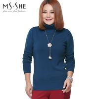Msshe plus size clothing 2014 autumn slim turtleneck sweater wool thermal xl5281