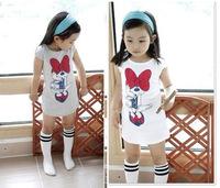 Baby Girls Clothes Hot Baby Summer Girl Long Design Minnie Gray White Shirt Kids Tees Tops Children Clothing Cartoon T Shirts