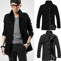 New 2015 Men Autumn Winter Fashion Overcoat Wool Warm Thicken Coat Slim Windproof Outerwear Male Leisure Jacket High Quality
