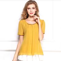 2015 Summer new brand Women Slim Plus Size Chiffon Blouse Short chiffon shirt top women roupas femininas S-XXXL CS108