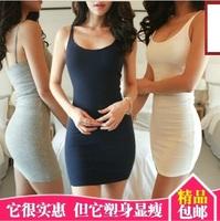 Summer new arrival basic sleeveless tank dress sexy tight fitting suspender slim hip slim one-piece dress